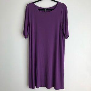 Eileen Fisher Shift Dress L Purple Casual